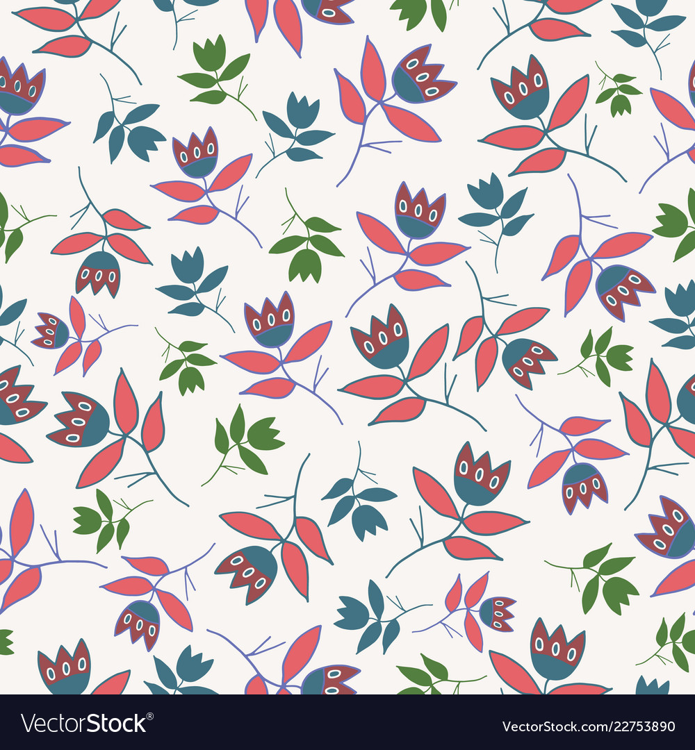 Cream winter folk florals seamless pattern