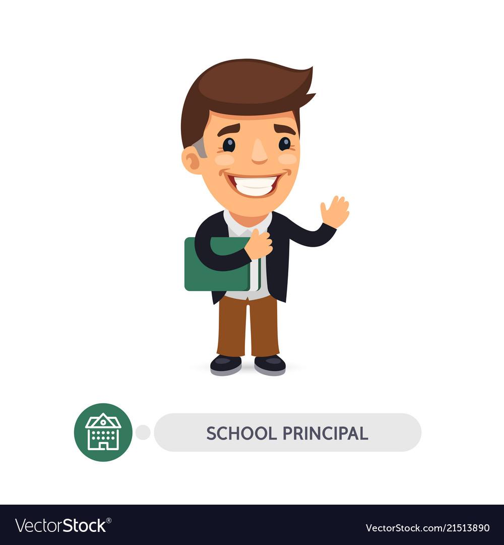 School principal flat cartoon character