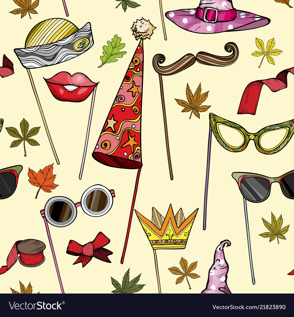 Seamless pattern with party accessories