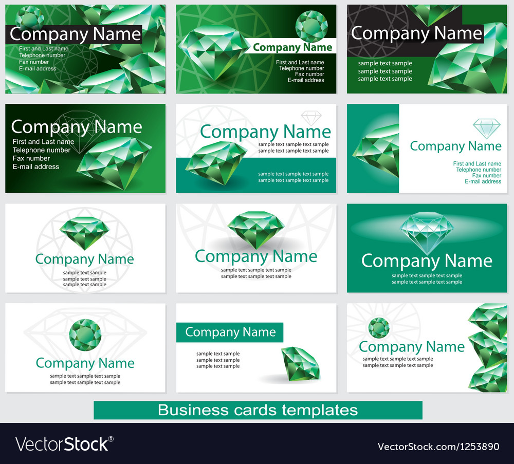 Set of business card template with emerald vector image reheart Gallery