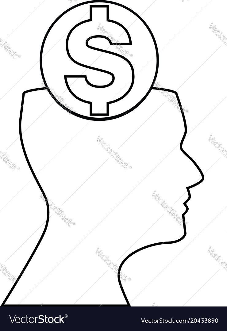 Sign of dollar inside of outline silhouette of