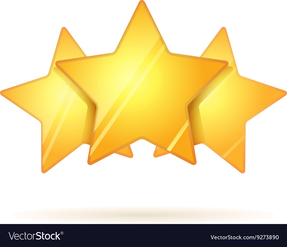 Three glossy golden rating stars with shadow on