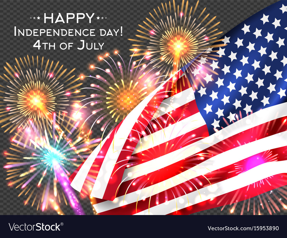 Usa independence day poster with firework and flag