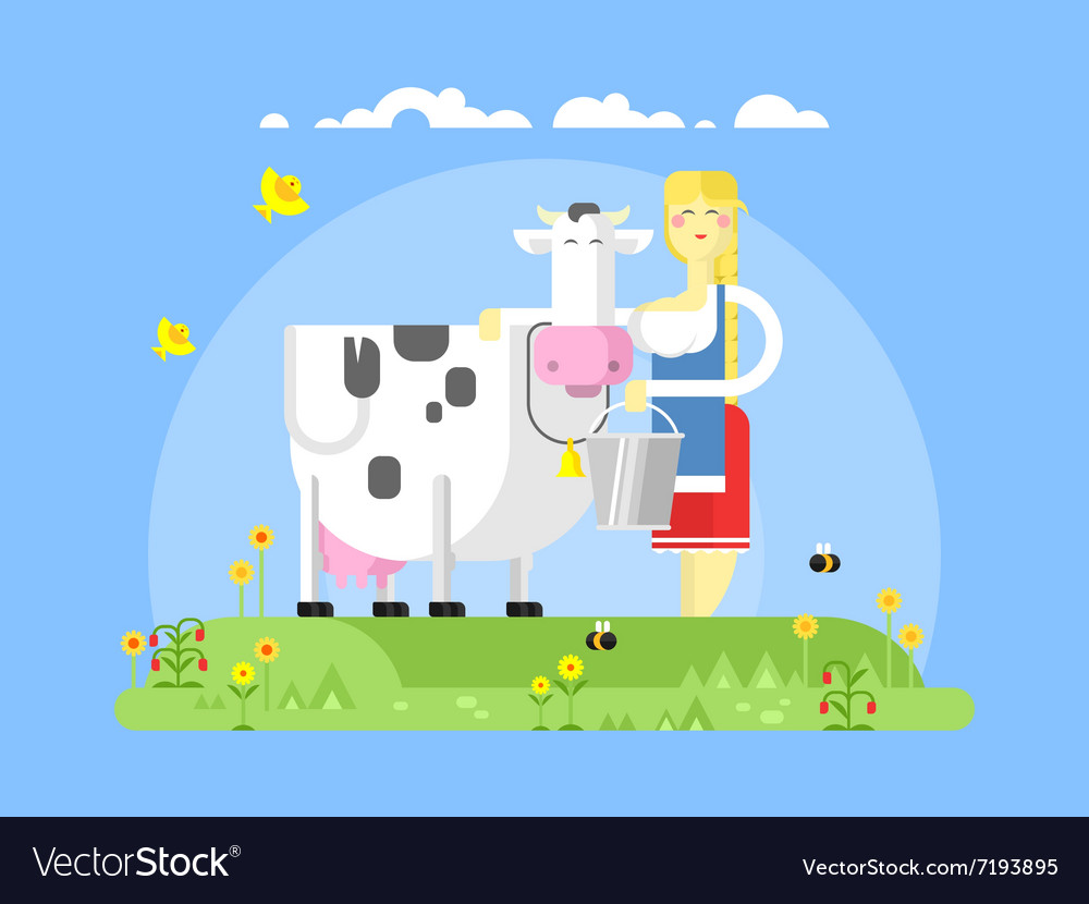 Cartoon character cow and milkmaid vector image