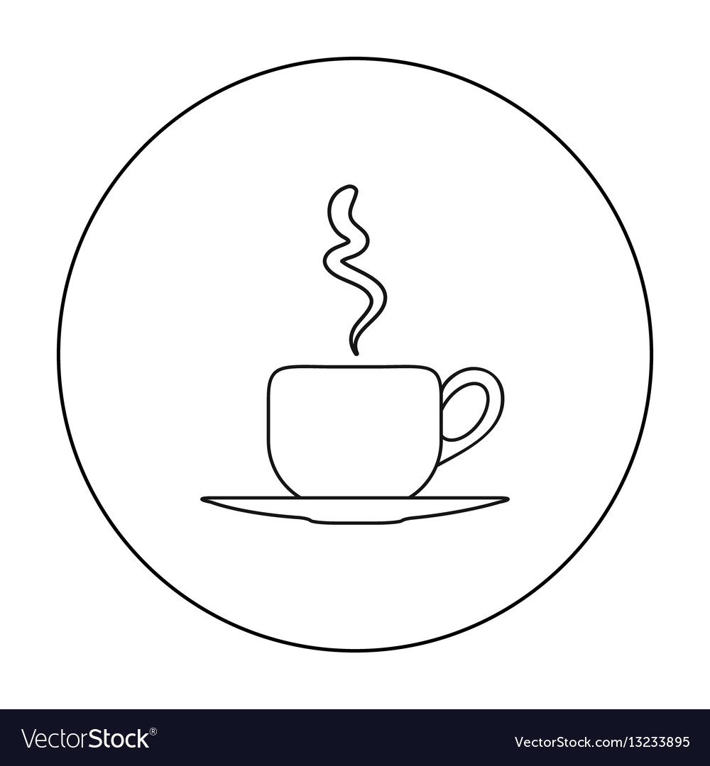 Coffee cup icon in outline style isolated on white