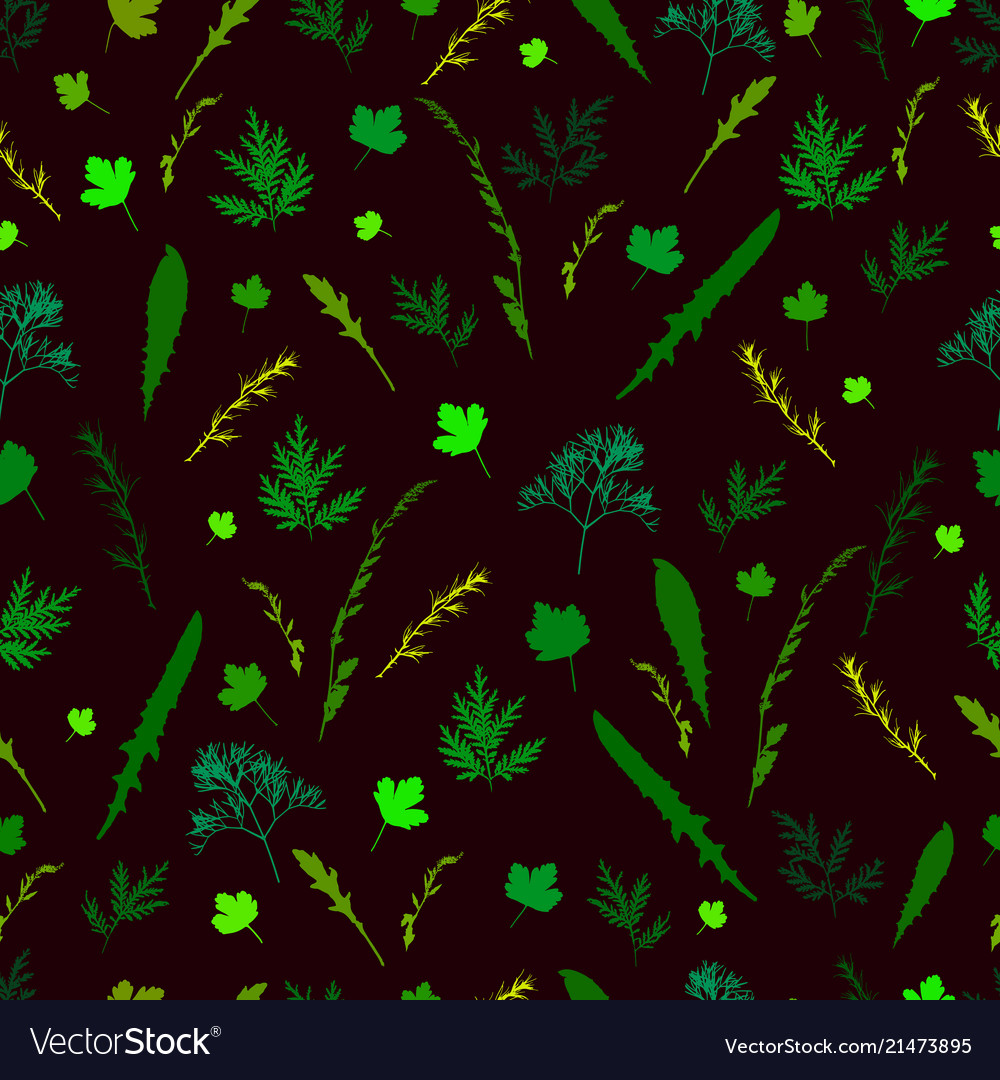 Field wild grass leaves and twigs seamless pattern