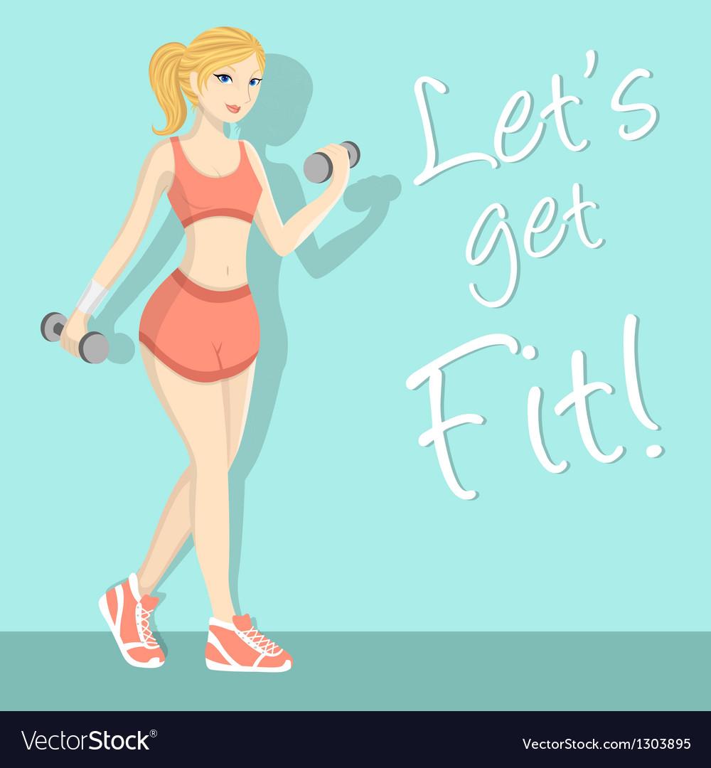 Fitness girl 1 vector image