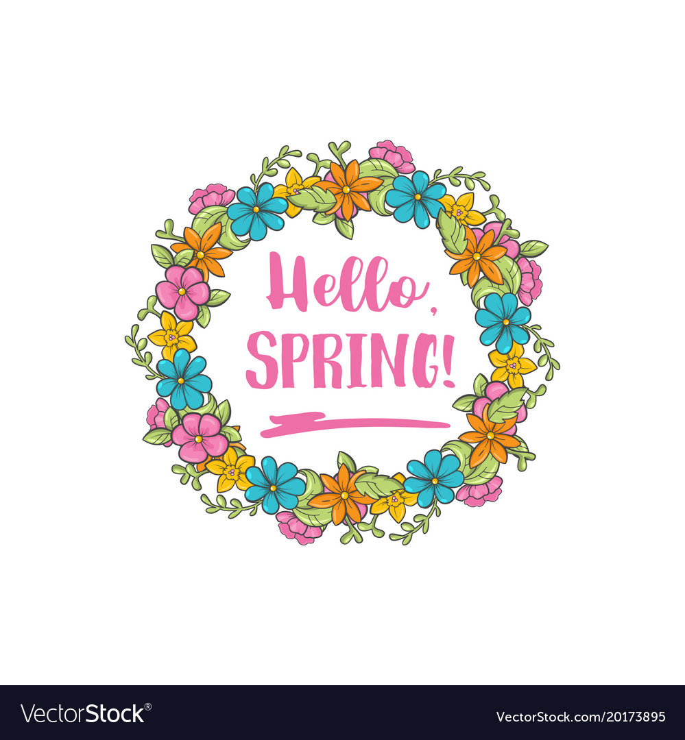 Hello Spring Circle Flower Frame Greeting Vector Image