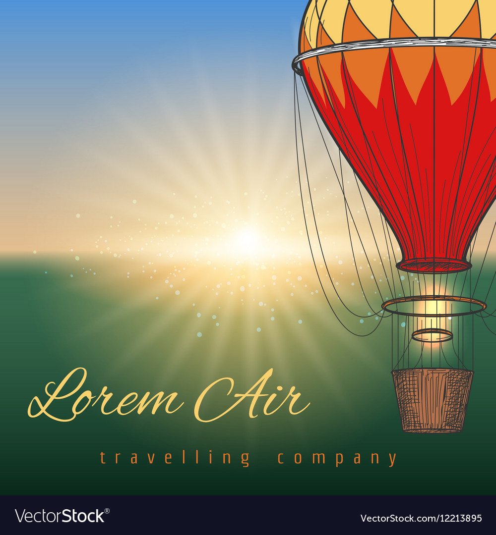 Hot air balloon on blurred background