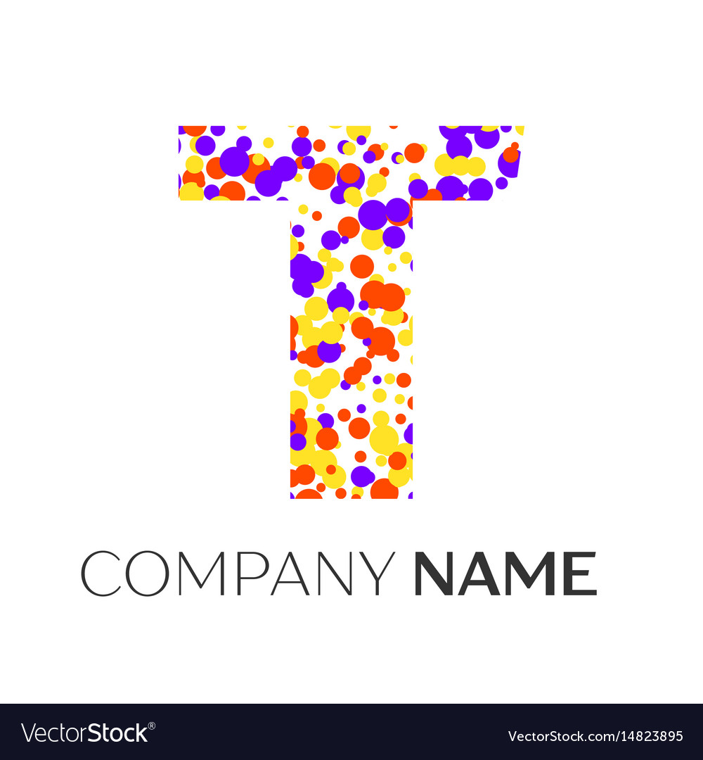 Letter t logo with purple yellow red particles