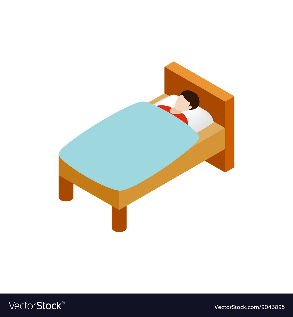 Man laying in bed icon isometric 3d style