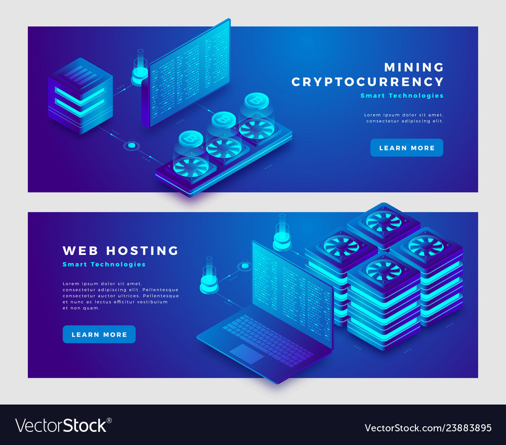 Mining cryptocurrency and web hosting concept