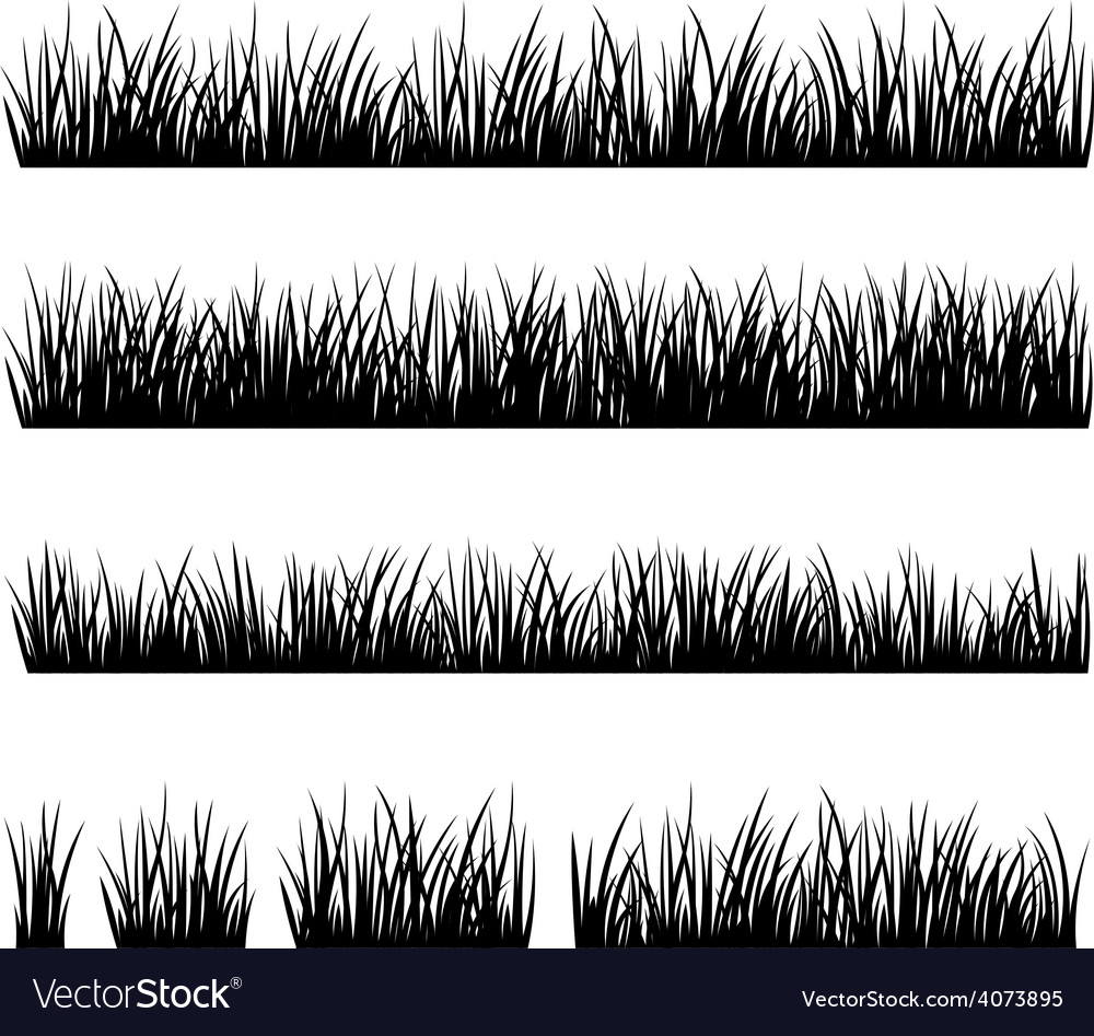 Set of silhouette of grass isolated on white backg