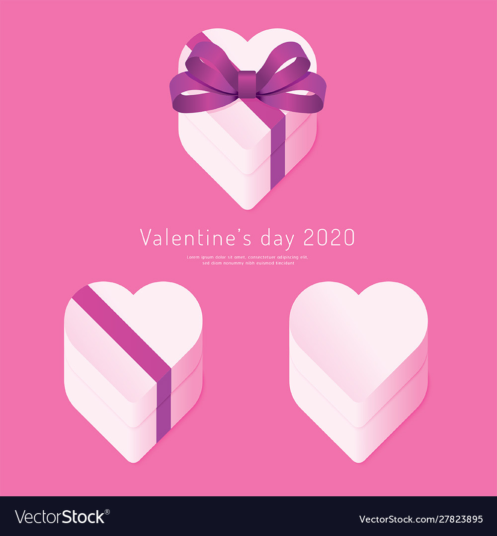 Valentines day 2020 paper heart box concept