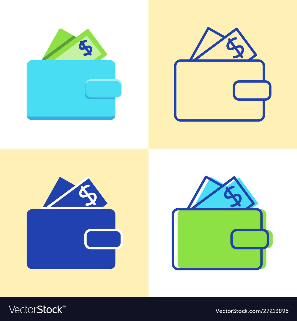 Wallet with money icon set in flat and line style