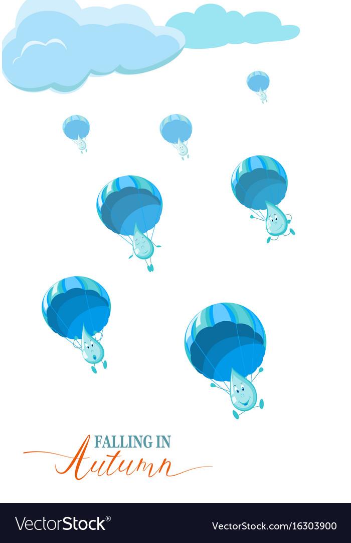 Autumn season banner flyer concept with rain vector image