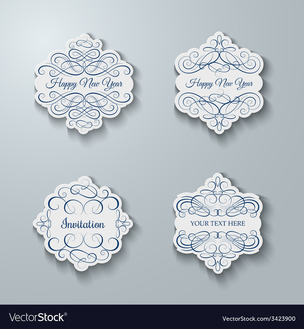 blank frame and label set vector image