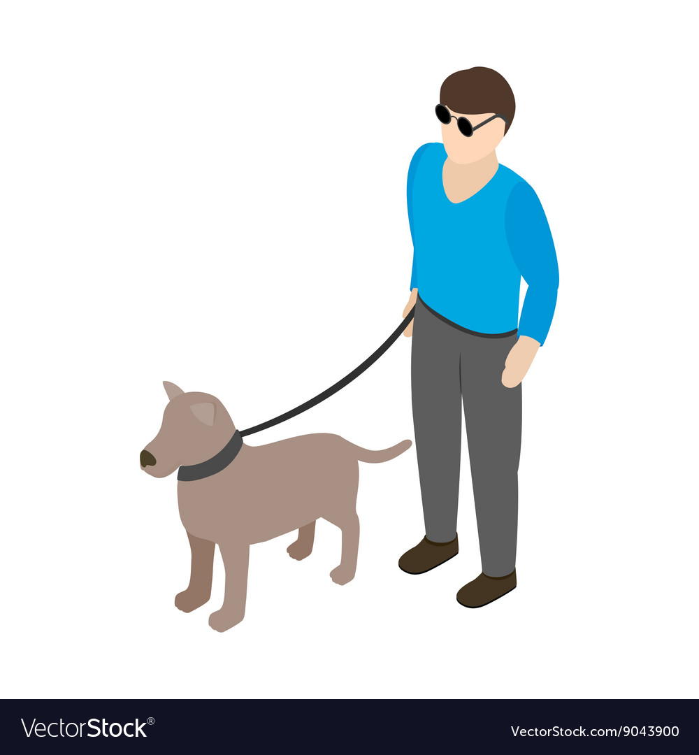 Blind man with guide dog icon isometric 3d style