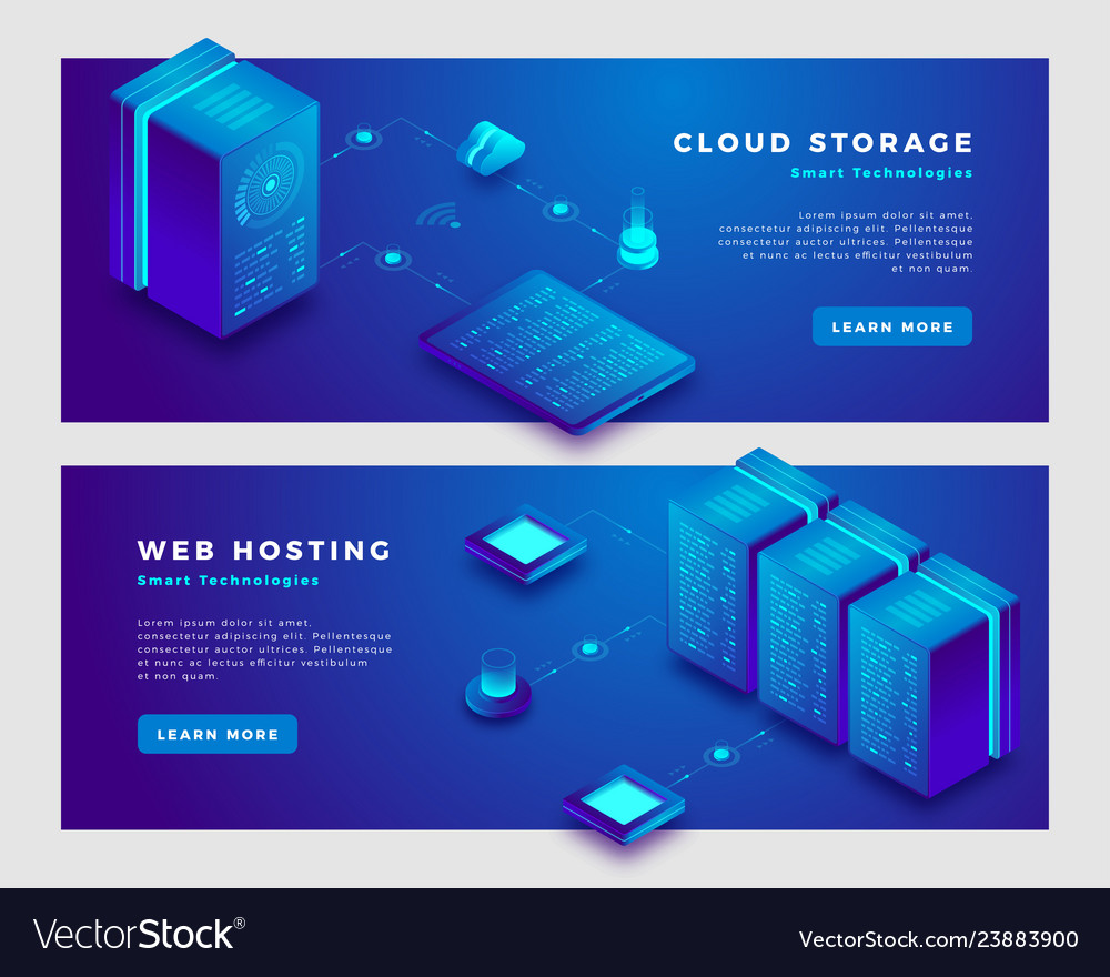 Cloud storage and web hosting concept banner