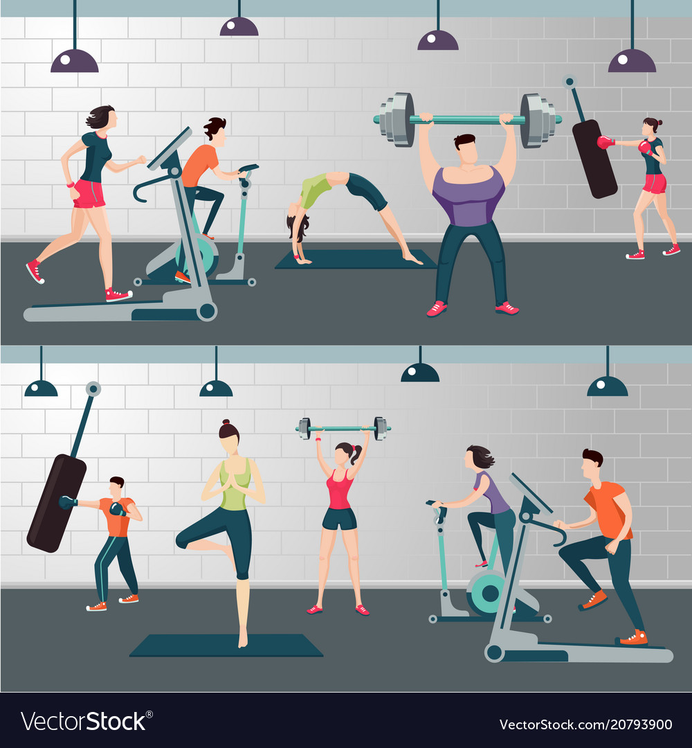 Fitness room with people on a work out gym
