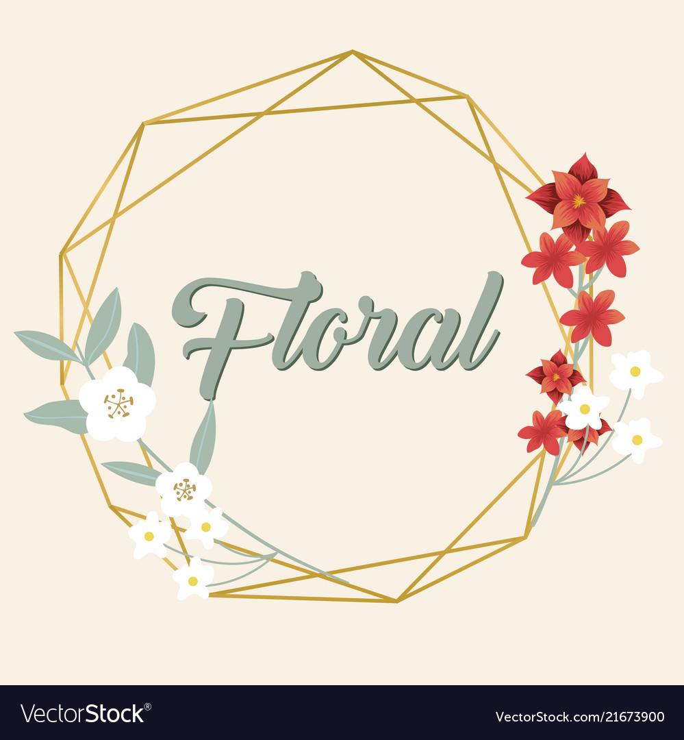 floral flower geometry design pink background vect vectorstock