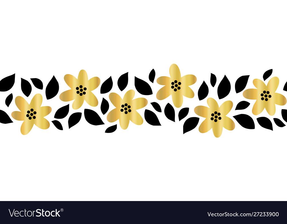 Gold foil flower garland seamless border