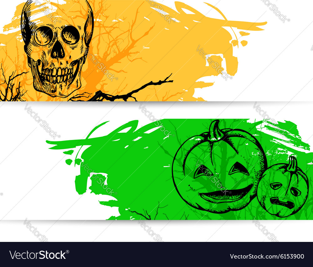 Horizontal banners for Halloween with skull