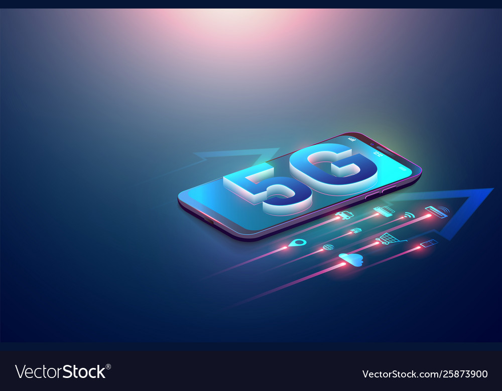Isometric 5g symbol and iot on smartphone and 5g