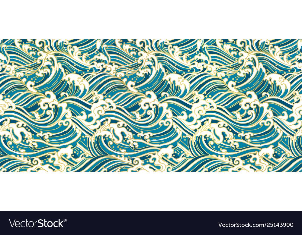 Japan oriental wave seamless wallpaper