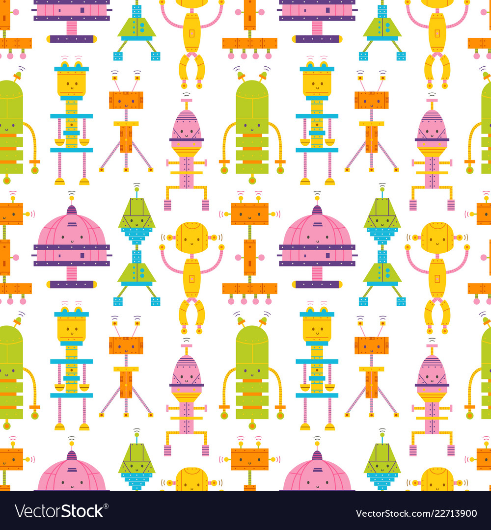 Seamless pattern with cute robots on white