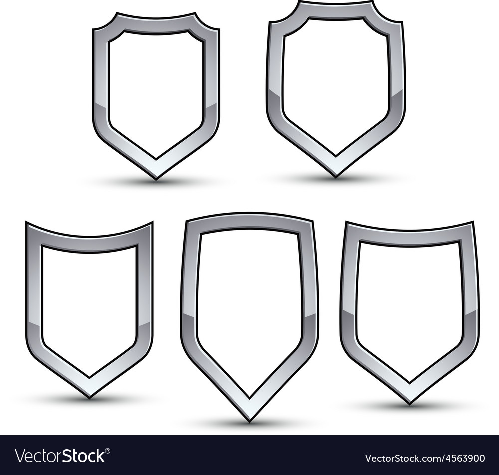 Set of heraldic emblem with silver outline vector image