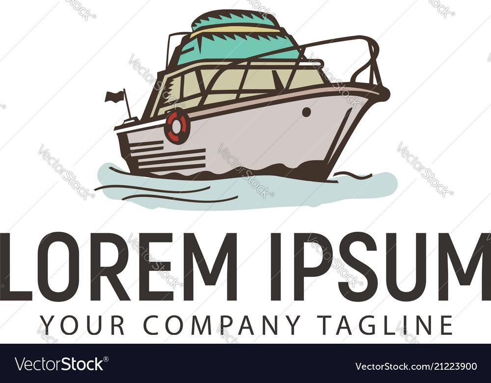 Ship marine vintage retro logo design concept
