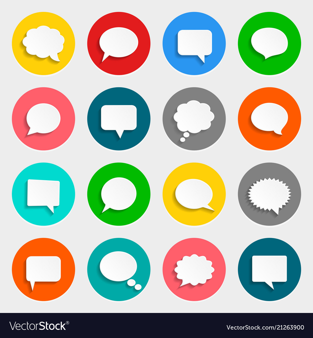 Speech bubbles icons in flat design with