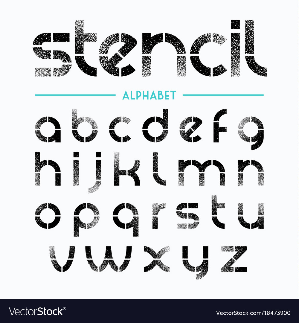 Spray Painted Stencil Alphabet Letters Royalty Free Vector