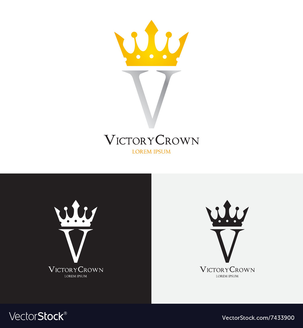 Template victory crown logo