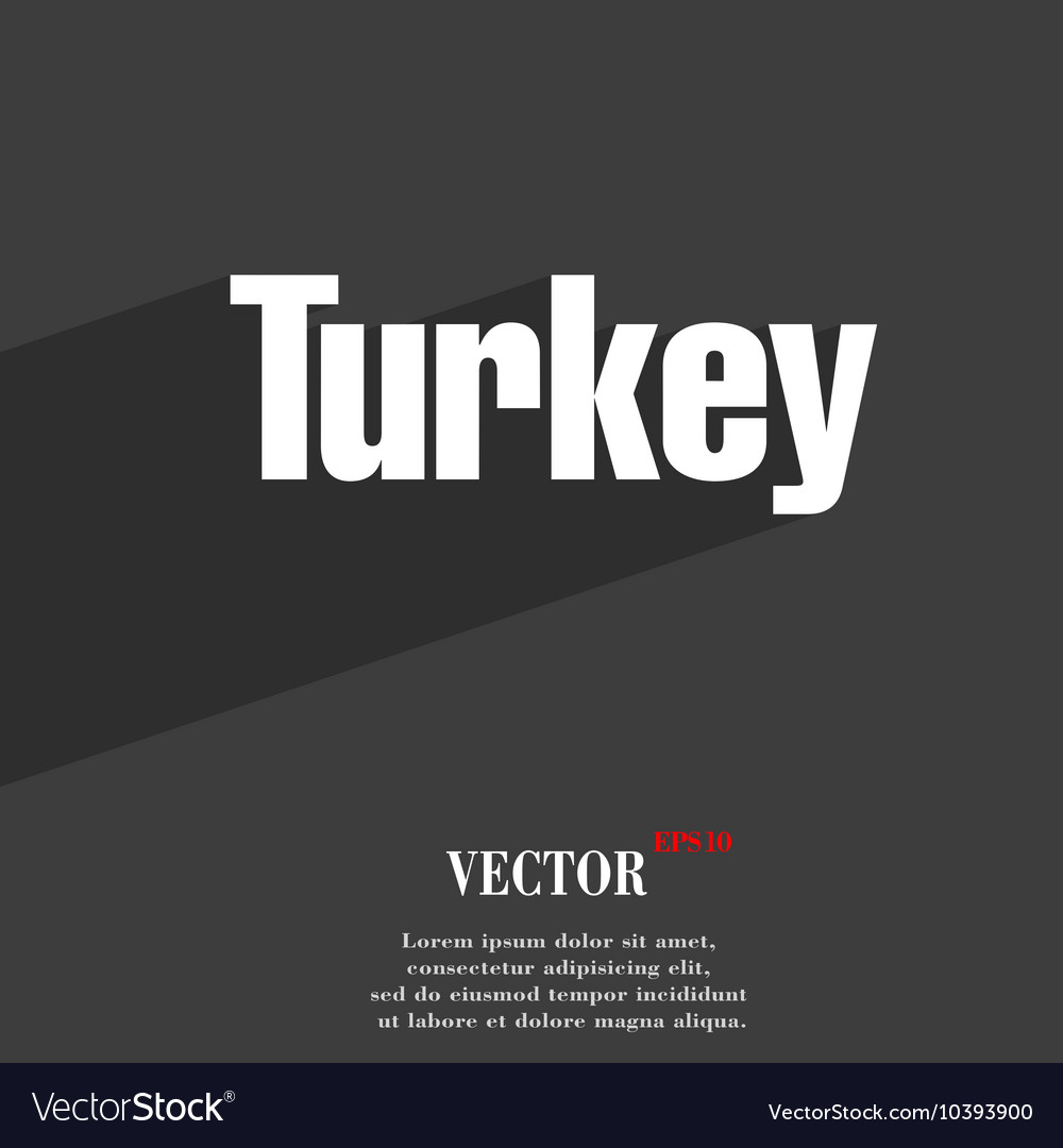Turkey symbol Flat modern web design with long vector image