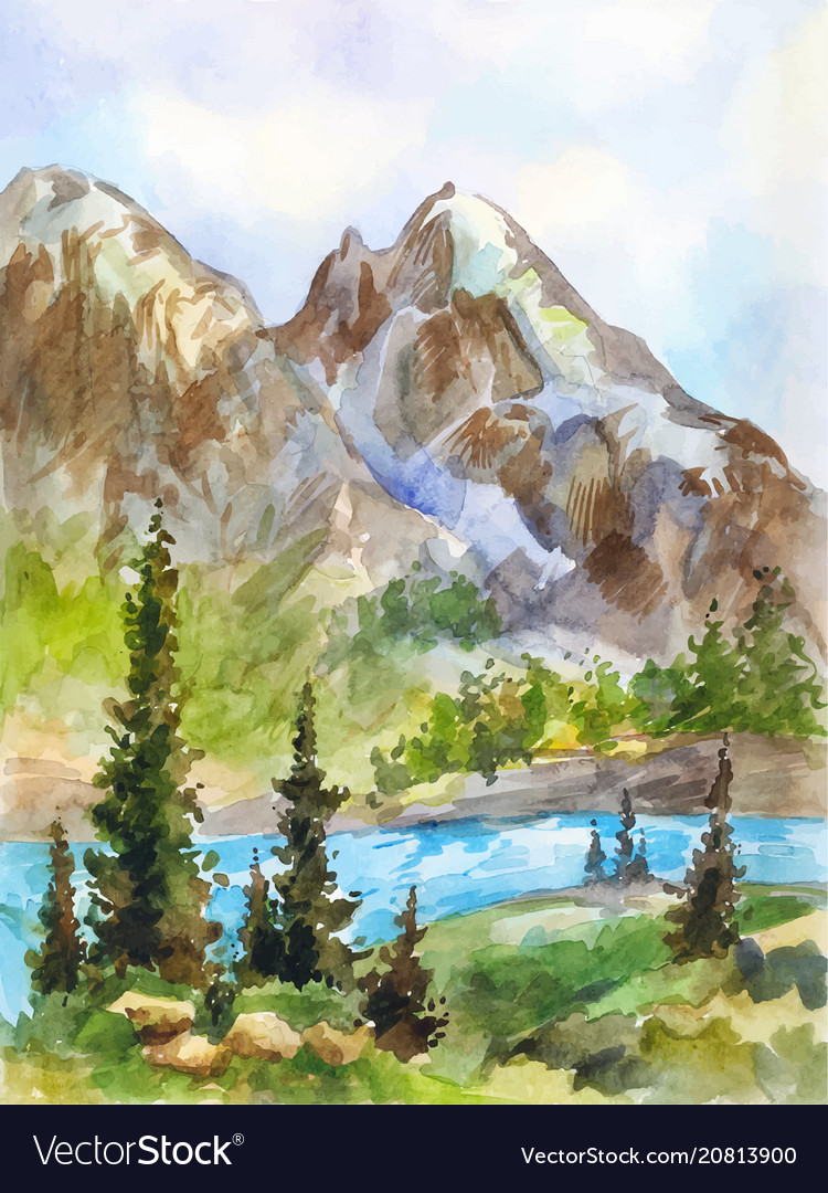 Watercolor landscape of mountains and river