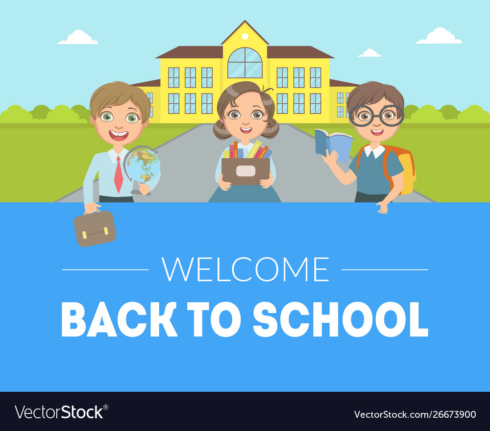Welcome back to school banner template cute kids