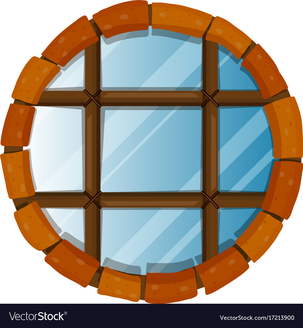 Window with round bricks on border vector image