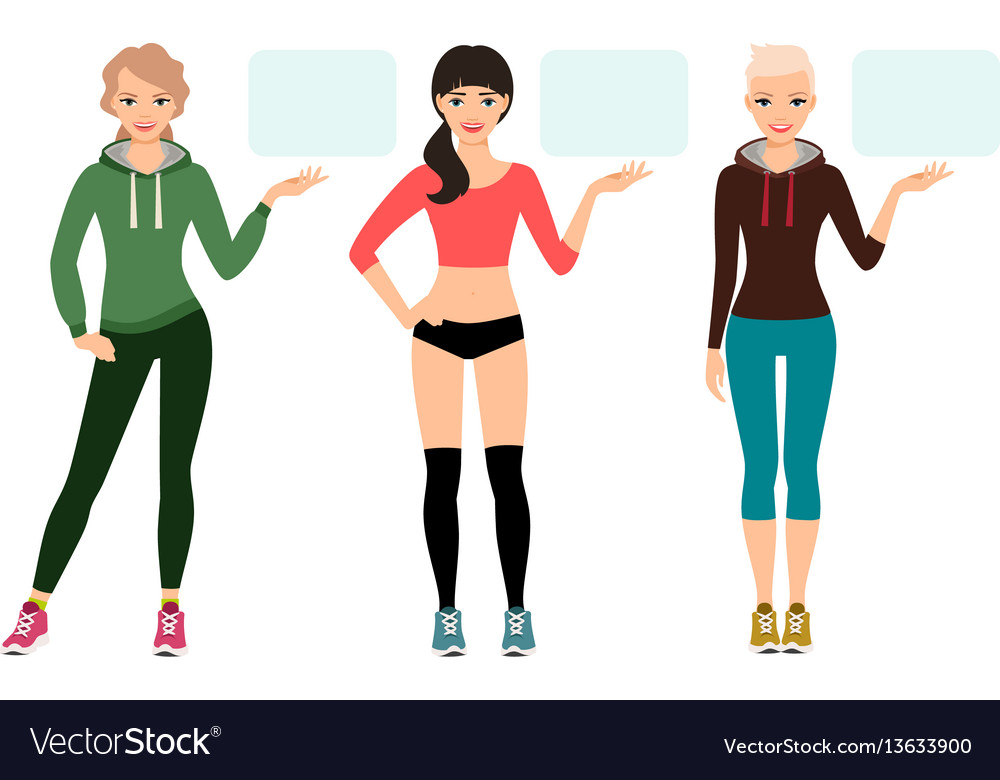 Young woman in sportswear presentation vector image
