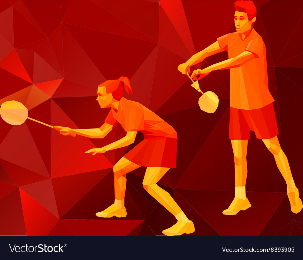 Badminton players mixed doubles team