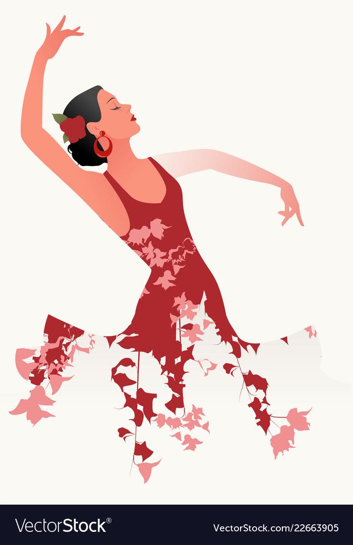 Beautiful spanish flamenco dancer wearing flowery