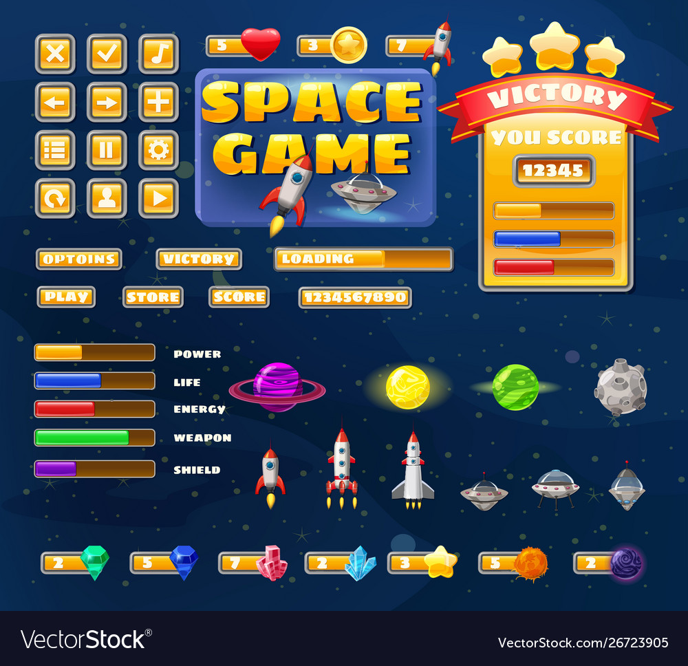 Big set buttons icons elements for space game
