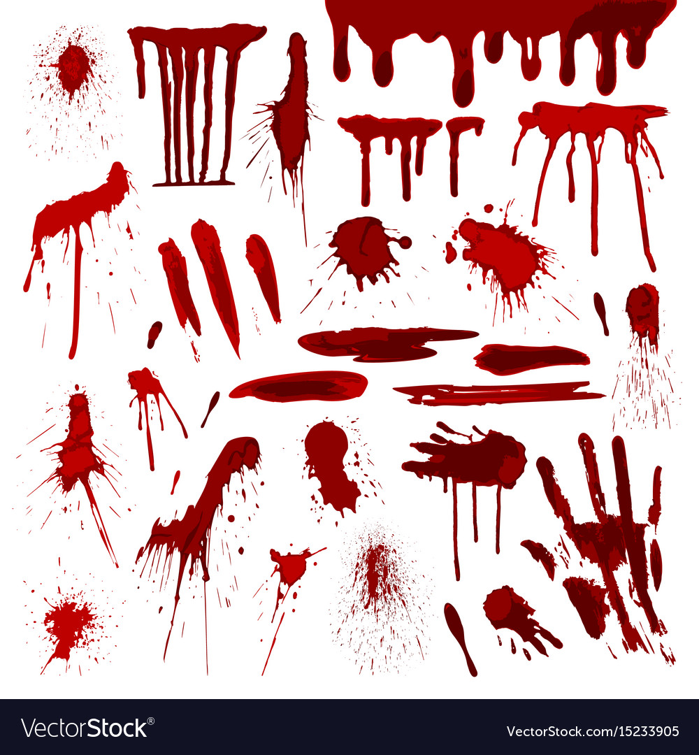 Blood or paint splatters splash spot red stain