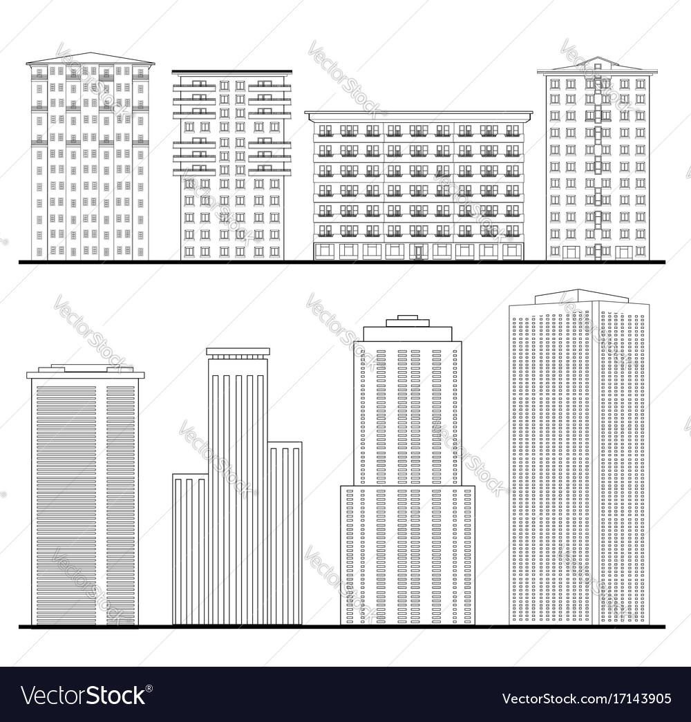 City buildings set outline blueprint skyscraper vector image malvernweather Choice Image