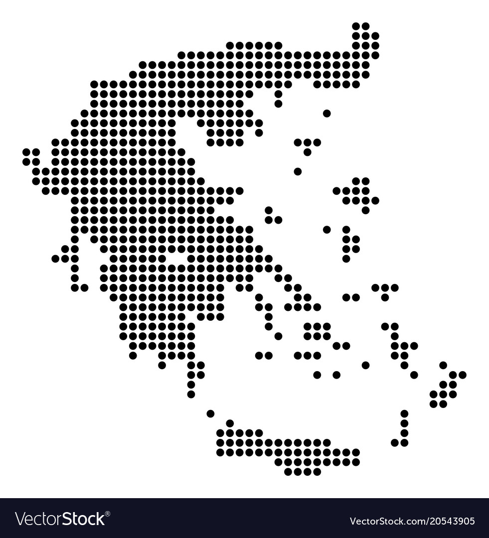 Dotted pixel greece map Royalty Free Vector Image