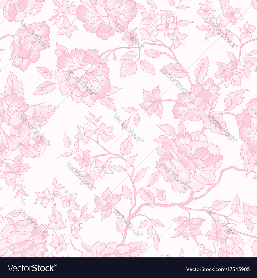 Floral Seamless Pattern Pink Flower Background Vector Image