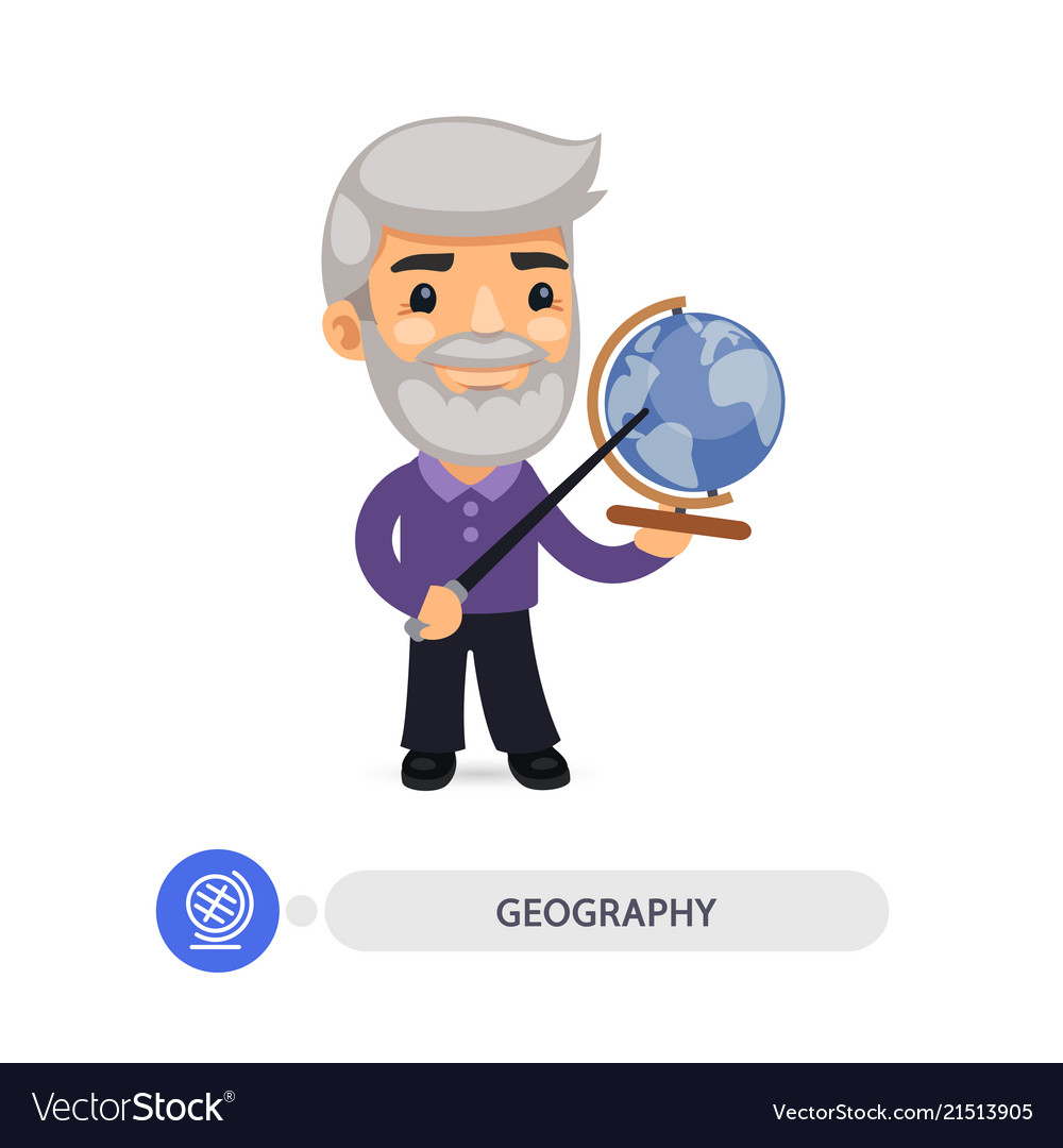 Geography teacher points to the globe