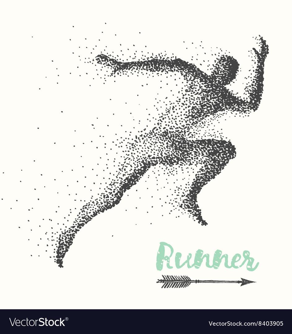 Hand drawn runner silhouette running man run