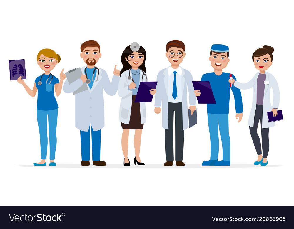 Medical Staff Cartoon Characters Flat Royalty Free Vector